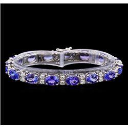 14KT White Gold 17.85 ctw Tanzanite and Diamond Bracelet
