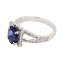 2.59 ctw Sapphire and Diamond Ring - 18KT White Gold