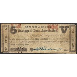 1862 $5 Savings & Loan Association Savannah, Georgia Obsolete Note
