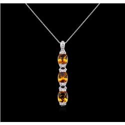 Crayola 7.80 ctw Citrine and White Sapphire Pendant With Chain - .925 Silver