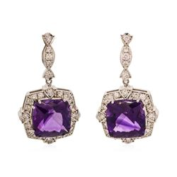 14KT White Gold 22.5 ctw Amethyst and Diamond Earrings