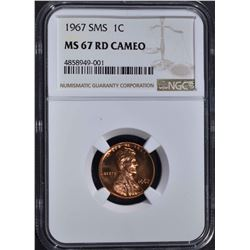 1967 SMS LINCOLN CENT NGC MS67RD