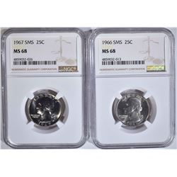1966 & 1967 SMS QUARTERS NGC MS68
