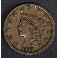1837 LARGE CENT, VF