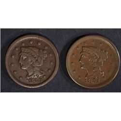 1848 & 51 LARGE CENTS, VF