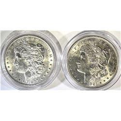 1897 & 1921 CH BU MORGAN DOLLARS