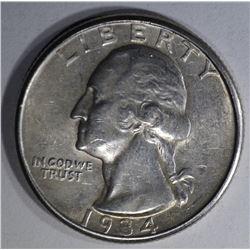1934-D WASHINGTON QUARTER AU