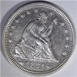 1874-S SEATED LIBERTY QUARTER  AU