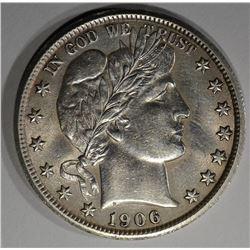 1906 BARBER HALF DOLLAR  AU+