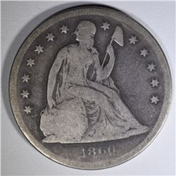 1860-O SEATED LIBERTY DOLLAR  GOOD+