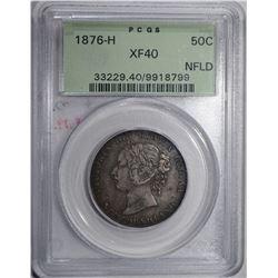 1876-H NEWFOUNDLAND HALF DOLLAR PCGS XF40