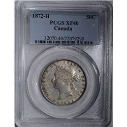 1872-H CANADA HALF DOLLAR PCGS XF40 RARE