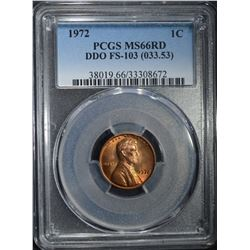 1972 DDO FS-103 LINCOLN CENT PCGS MS66RD