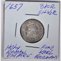 1657 SILVER 3 KR. HOLY ROMAN EMPIRE