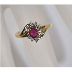 14 KT GOLD MARQUISE DIAMOND RUBY RING