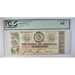 1863 $50 STATE OF GEORGIA  PCGS 64