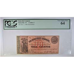 1862 TEN CENTS HYDEVILLE COMPANY, VT