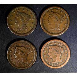 1851 VG, 53 FINE & 2-54 F/VF LARGE CENTS