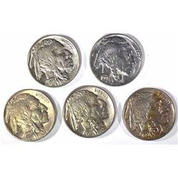 5-CH BU BUFFALO NICKELS: 1-1935, 36, 36-S & 2-37-D