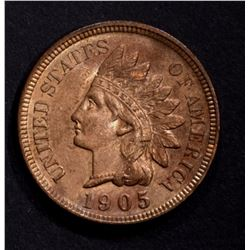 1905 INDIAN CENT, CH BU SOME RED