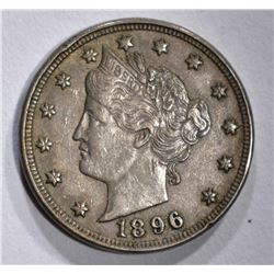 "1896 LIBERTY ""V"" NICKEL CHOICE XF/AU"