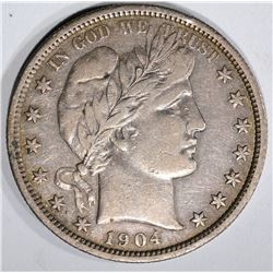 1904 BARBER HALF DOLLAR, XF