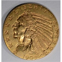 1909 $5 GOLD INDIAN HEAD  CH BU