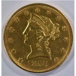 1850 $10 LG DATE GOLD LIBERTY HEAD  CH BU