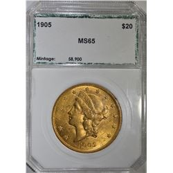 1905 $20.00 GOLD LIBERTY, PCI GEM BU