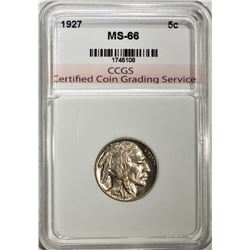 1927 BUFFALO NICKEL CCGS SUPERB GEM
