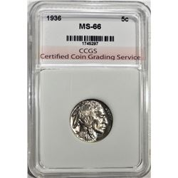1936 BUFFALO NICKEL CCGS SUPERB GEM