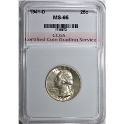 1941-D WASHINGTON QUARTER CCGS GEM BU