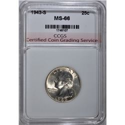1943-S WASHINGTON QUARTER CCGS SUPERB GEM