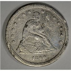 1860-S SEATED LIBERTY QUARTER  XF