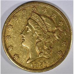 1851-O $20.00 GOLD LIBERTY  XF/AU