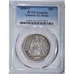 1858-O SEATED LIBERTY HALF DOLLAR