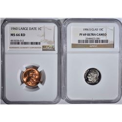 2 NGC COINS: 1996-S CLAD ROOSEVELT DIME