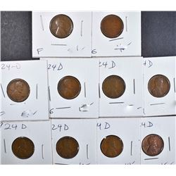 10 - 1924 D LINCOLN CENTS GOOD - FINE+