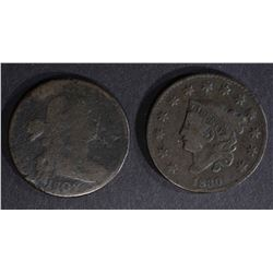 1830 LARGE CENT F+, 1802 DRAPED BUST