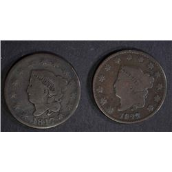 1817 & 1822 LARGE CENTS G/VF
