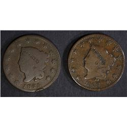1825 GOOD, 1828 VG/FINE LARGE CENTS