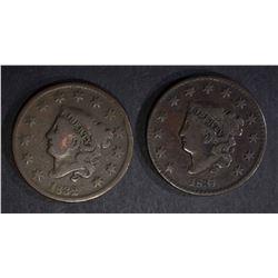 1831 FINE, 1832 VG LARGE CENTS