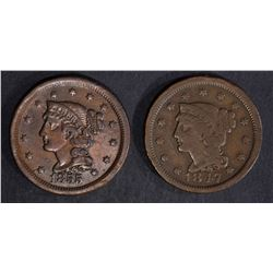 1847 F/VF, 1855 VF/XF LARGE CENTS