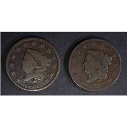 1829 N-1 & 1828 N-9 LARGE CENTS VG's