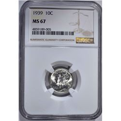 1939 MERCURY DIME NGC MS67