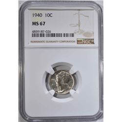1940 MERCURY DIME NGC MS67