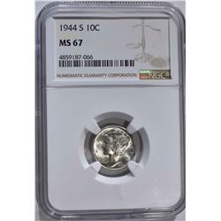 1944-S MERCURY DIME NGC MS67