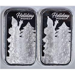 2 - 1oz .999 CHRISTMAS BARS; HOLIDAY