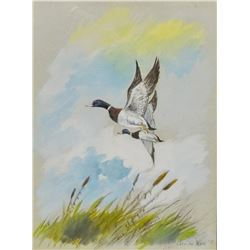 "Cuts The Rope, Clarence, (1935-2000), original oil, Ducks, 1979, 9"" x 12"""