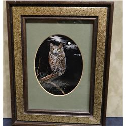 "Pickthorn, A. Nadine, Horned Owl in Moonlight, 3 1/2"" x 4 1/2"""